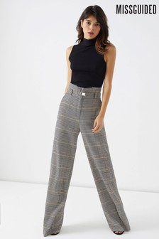 Missguided Utility Paperbag Check Trousers