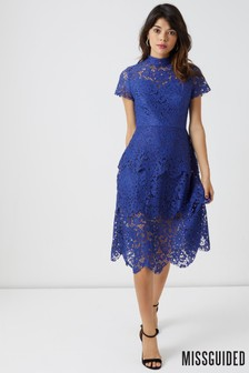 Missguided Lace Frill Sleeve High Neck Dress
