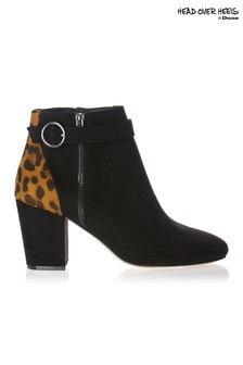 Head Over Heels Leopard Buckle Strap Boots