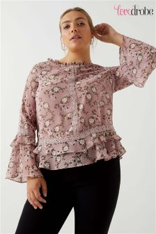 Lovedrobe Curve Lace Detail Frill Sleeves Printed Top