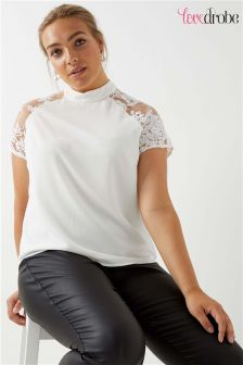 Lovedrobe Curve Rose Lace Detail High Neck Top