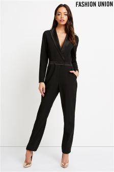 4fe6b4fbd43 Fashion Union Tuxedo Jumpsuit