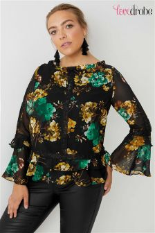 Lovedrobe Curve Printed Top With Lace Detail And Frill Sleeve