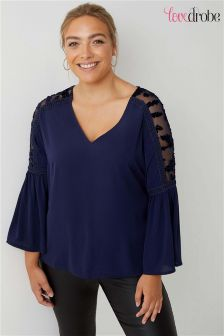 Lovedrobe Curve Velour Mesh  Fluted Sleeve Top