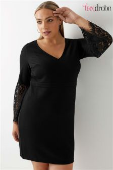 Lovedrobe Curve Textured Dress with Lace Detail Bell Sleeve