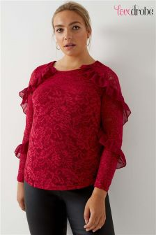 Lovedrobe Curve Frill Sleeve Lace Top