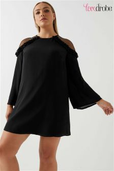 Lovedrobe Curve Mesh Ruffle Cold Shoulder Swing Dress