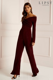 Lipsy Sheen Twist Bardot Jumpsuit