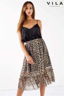 Vila Leopard Print Skirt