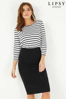 Lipsy Petite Rib Midi Skirt