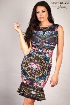 שמלה פרחונית צמודה עם הדפס שרשרת של Sistaglam Loves Jessica