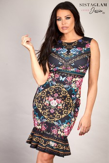 Sistaglam Loves Jessica Floral Chain Print Bodycon Dress