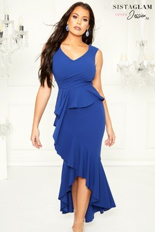 Sistaglam Loves Jessica High Low Frill Hem Maxi Dress