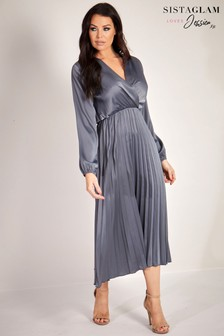 Sistaglam Loves Jessica Pleated Midi Dress