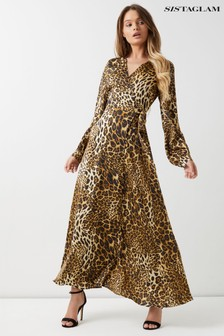 Sistaglam Animal Print Wrap Maxi Dress