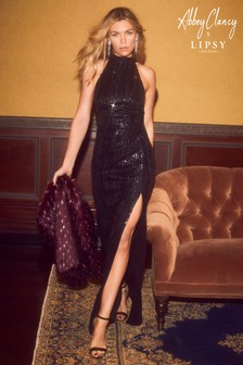 Abbey Clancy x Lipsy Sequin Halter Neck Maxi Dress