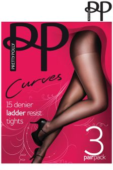 Pretty Polly Curves 3 Pack 15 Denier Ladder Resist Tight