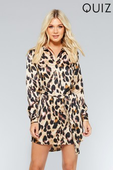 Quiz Satin Leopard Long Sleeve Shirt Dress