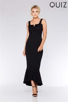 Quiz V Bar Frill Hem Maxi Dress