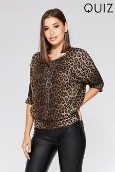 Haut Quiz à imprimé léopard avec collier