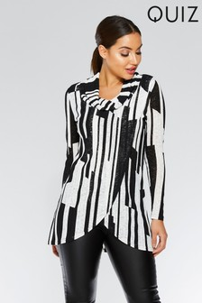 Quiz Stripe Zip Front Long Sleeve Top