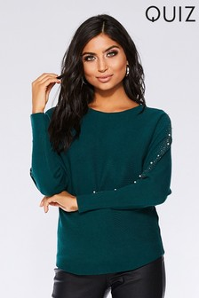 Quiz Light Knit Embellished Sleeve Top