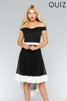 Quiz Contrast Bardot Dip Hem Dress