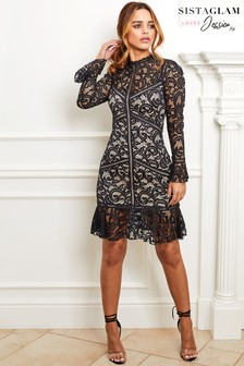 Sistaglam Loves Jessica Lace Long Sleeve Dress 3a14ec8d8