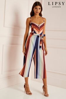 Lipsy Stripe Button Culotte Jumpsuit