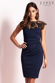 Lipsy Eyelash Lace Sweetheart Contrast Bodycon Dress