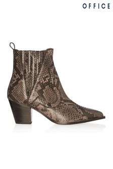 Office Snake Print Leather Ankle Boots