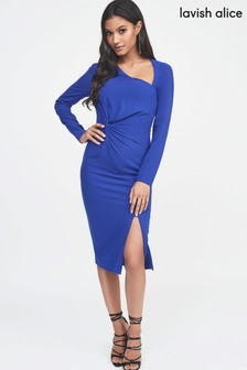 Lavish Alice Twist Front Asymmetric Midi Dress