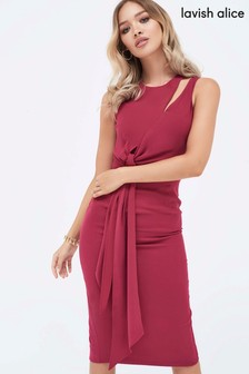 Lavish Alice Draped Tie Side Pencil Dress