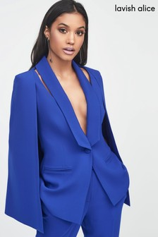 Lavish Alice Cut Out Shoulder Cape Blazer