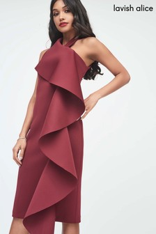 Lavish Alice Frill Halter Neck Midi Dress