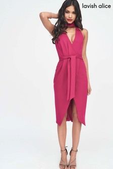 Lavish Alice Choker Neck Wrap Midi Dress