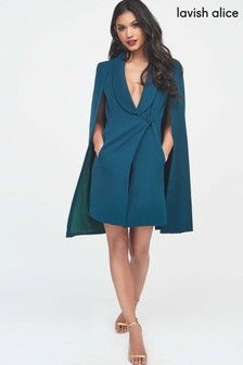 Lavish Alice Tuxedo Cape Mini Dress