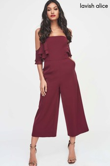 Lavish Alice Chiffon Off Shoulder Culotte Jumpsuit