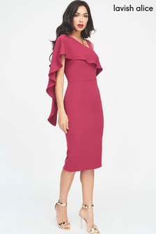 Lavish Alice Asymmetric Drape Midi Dress