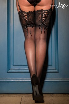Pour Moi All Tied Up Lace Up 15 Denier Stocking