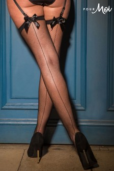 Pour Moi All Wrapped Up Bow Fishnet Back Seam Stocking