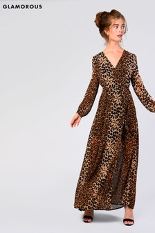 Glamorous Leopard Print Wrap Around Maxi Dress.