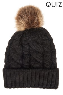 Quiz Knitted Contrast Pom-Pom Hat