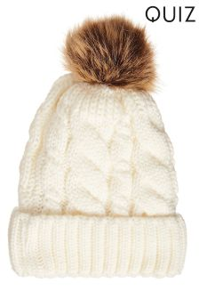 Quiz Knitted Contrast Pom-Pom Hat