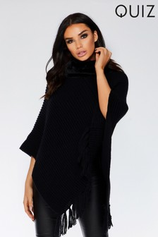 Quiz Faux Fur Neck Poncho