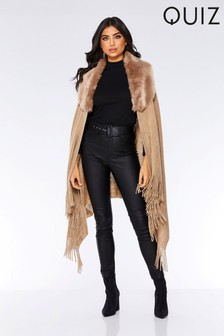 Quiz Fur Neck Poncho