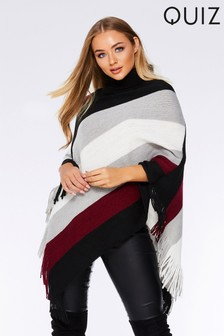 Quiz Striped Poncho