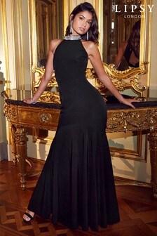 Lipsy Embellished Halter Maxi Dress