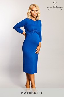 Want That Trend Maternity Twist Front Bodycon Dress
