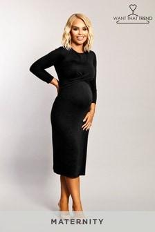 Want That Trend Figurbetontes Kleid mit verdrehter Vorderpartie (Umstandsmode)